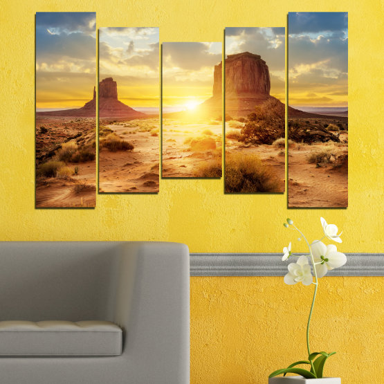 Canvas prints & wall decorative panels - 5 pieces №0154 » Blue, Yellow, Orange, Brown, Gray, Beige » Sun, Sunrise, Sand, Desert, Rocks Form #4