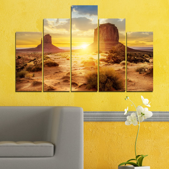 Canvas prints & wall decorative panels - 5 pieces №0154 » Blue, Yellow, Orange, Brown, Gray, Beige » Sun, Sunrise, Sand, Desert, Rocks Form #5