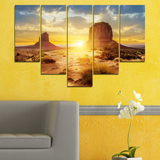 Canvas prints & wall decorative panels - 5 pieces №0154 » Blue, Yellow, Orange, Brown, Gray, Beige » Sun, Sunrise, Sand, Desert, Rocks Form #6