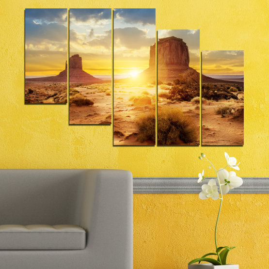 Canvas prints & wall decorative panels - 5 pieces №0154 » Blue, Yellow, Orange, Brown, Gray, Beige » Sun, Sunrise, Sand, Desert, Rocks Form #7