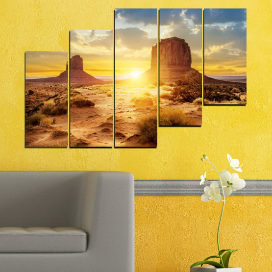Canvas prints & wall decorative panels - 5 pieces №0154 » Blue, Yellow, Orange, Brown, Gray, Beige » Sun, Sunrise, Sand, Desert, Rocks Form #8