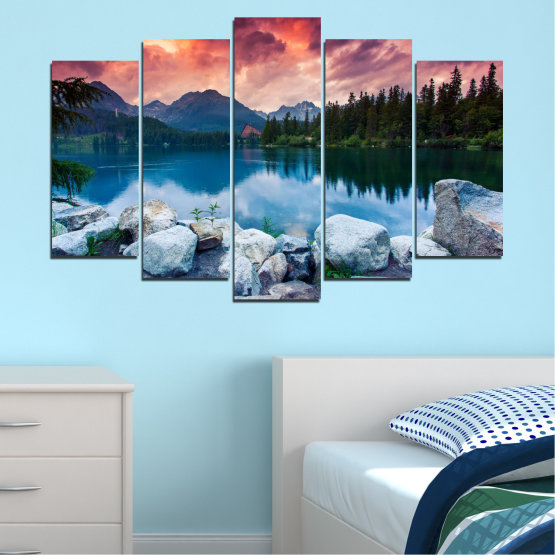 Canvas prints & wall decorative panels - 5 pieces №0155 » Red, Pink, Blue, Turquoise, Green, Black, Gray, Milky pink, Dark grey » Landscape, Nature, Water, Mountain, Sunset, Forest, Lake Form #1