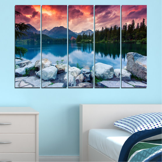 Canvas prints & wall decorative panels - 5 pieces №0155 » Red, Pink, Blue, Turquoise, Green, Black, Gray, Milky pink, Dark grey » Landscape, Nature, Water, Mountain, Sunset, Forest, Lake Form #2