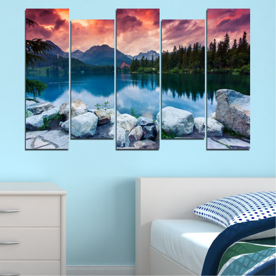 Canvas prints & wall decorative panels - 5 pieces №0155 » Red, Pink, Blue, Turquoise, Green, Black, Gray, Milky pink, Dark grey » Landscape, Nature, Water, Mountain, Sunset, Forest, Lake Form #3