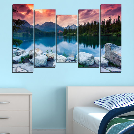 Canvas prints & wall decorative panels - 5 pieces №0155 » Red, Pink, Blue, Turquoise, Green, Black, Gray, Milky pink, Dark grey » Landscape, Nature, Water, Mountain, Sunset, Forest, Lake Form #4