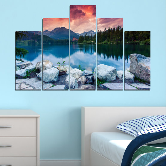 Canvas prints & wall decorative panels - 5 pieces №0155 » Red, Pink, Blue, Turquoise, Green, Black, Gray, Milky pink, Dark grey » Landscape, Nature, Water, Mountain, Sunset, Forest, Lake Form #5