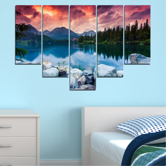 Canvas prints & wall decorative panels - 5 pieces №0155 » Red, Pink, Blue, Turquoise, Green, Black, Gray, Milky pink, Dark grey » Landscape, Nature, Water, Mountain, Sunset, Forest, Lake Form #6