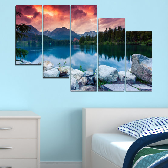 Canvas prints & wall decorative panels - 5 pieces №0155 » Red, Pink, Blue, Turquoise, Green, Black, Gray, Milky pink, Dark grey » Landscape, Nature, Water, Mountain, Sunset, Forest, Lake Form #7