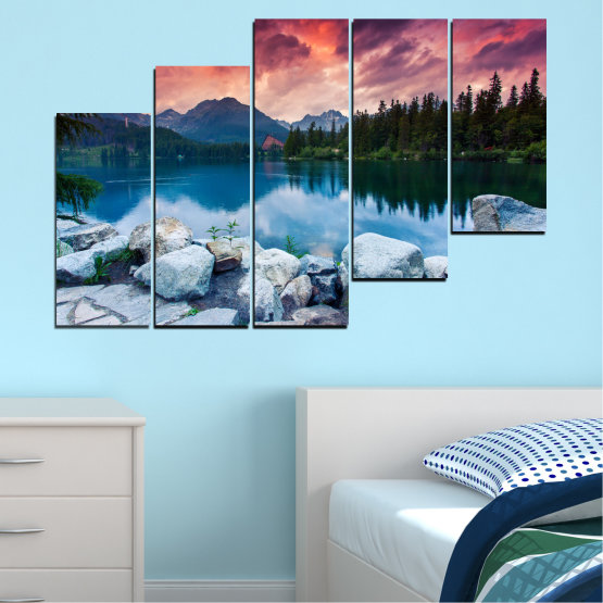 Canvas prints & wall decorative panels - 5 pieces №0155 » Red, Pink, Blue, Turquoise, Green, Black, Gray, Milky pink, Dark grey » Landscape, Nature, Water, Mountain, Sunset, Forest, Lake Form #8