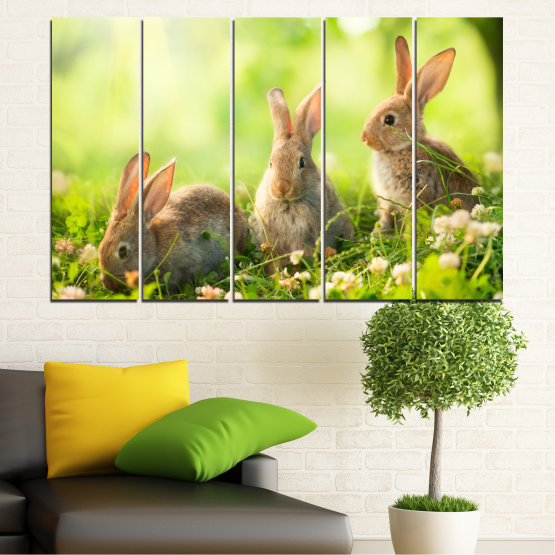 Canvas prints & wall decorative panels - 5 pieces №0156 » Green, Yellow, Brown, Beige » Nature, Animal, Sun, Rabbit Form #2