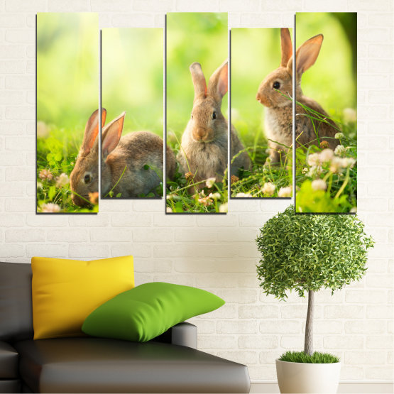 Canvas prints & wall decorative panels - 5 pieces №0156 » Green, Yellow, Brown, Beige » Nature, Animal, Sun, Rabbit Form #3
