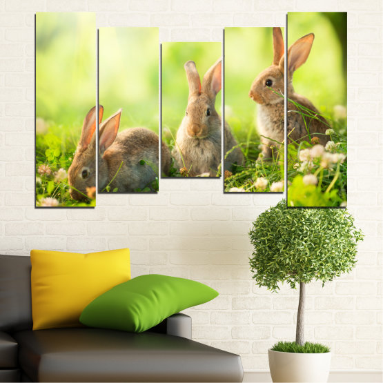 Canvas prints & wall decorative panels - 5 pieces №0156 » Green, Yellow, Brown, Beige » Nature, Animal, Sun, Rabbit Form #4