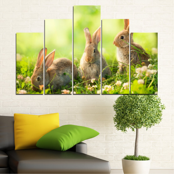 Canvas prints & wall decorative panels - 5 pieces №0156 » Green, Yellow, Brown, Beige » Nature, Animal, Sun, Rabbit Form #5