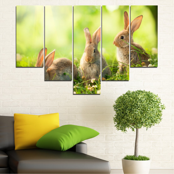 Canvas prints & wall decorative panels - 5 pieces №0156 » Green, Yellow, Brown, Beige » Nature, Animal, Sun, Rabbit Form #6