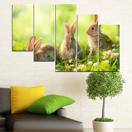 Canvas prints & wall decorative panels - 5 pieces №0156 » Green, Yellow, Brown, Beige » Nature, Animal, Sun, Rabbit Form #7