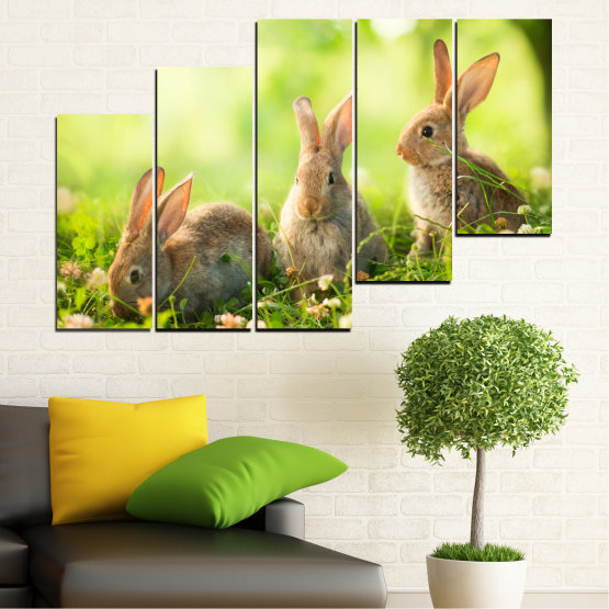 Canvas prints & wall decorative panels - 5 pieces №0156 » Green, Yellow, Brown, Beige » Nature, Animal, Sun, Rabbit Form #8