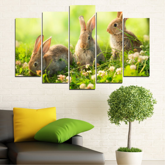 Canvas prints & wall decorative panels - 5 pieces №0156 » Green, Yellow, Brown, Beige » Nature, Animal, Sun, Rabbit Form #1