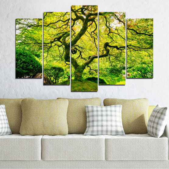 Canvas prints & wall decorative panels - 5 pieces №0157 » Green, Yellow, Black » Nature, Forest, Tree Form #1