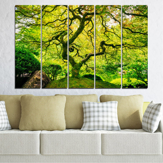 Canvas prints & wall decorative panels - 5 pieces №0157 » Green, Yellow, Black » Nature, Forest, Tree Form #2