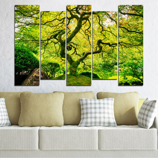 Canvas prints & wall decorative panels - 5 pieces №0157 » Green, Yellow, Black » Nature, Forest, Tree Form #3