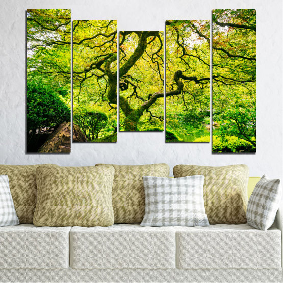 Canvas prints & wall decorative panels - 5 pieces №0157 » Green, Yellow, Black » Nature, Forest, Tree Form #4