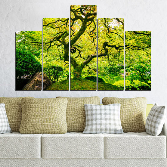 Canvas prints & wall decorative panels - 5 pieces №0157 » Green, Yellow, Black » Nature, Forest, Tree Form #5