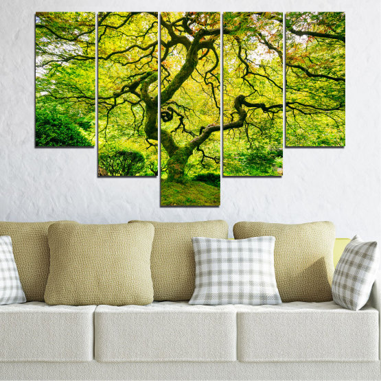 Canvas prints & wall decorative panels - 5 pieces №0157 » Green, Yellow, Black » Nature, Forest, Tree Form #6