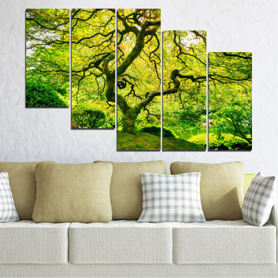 Canvas prints & wall decorative panels - 5 pieces №0157 » Green, Yellow, Black » Nature, Forest, Tree Form #7