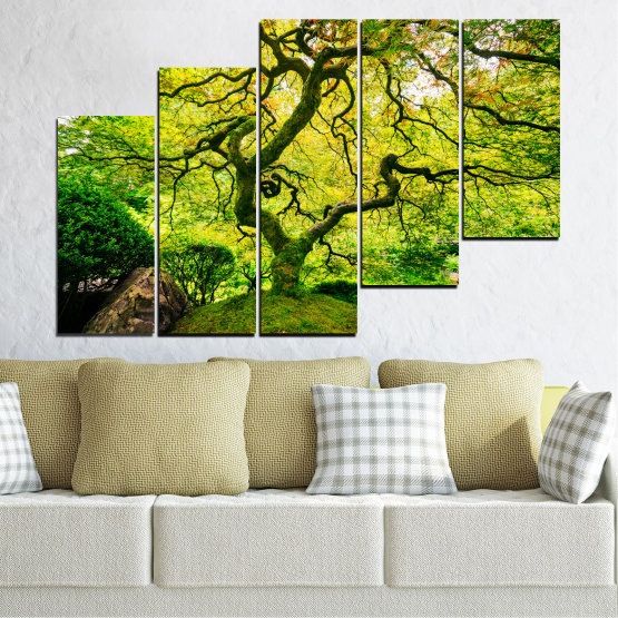 Canvas prints & wall decorative panels - 5 pieces №0157 » Green, Yellow, Black » Nature, Forest, Tree Form #8