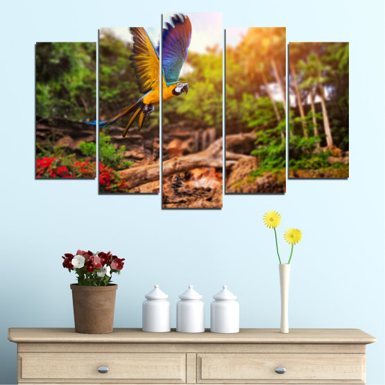 Canvas prints & wall decorative panels - 5 pieces №0158 » Green, Orange, Brown, Black » Nature, Birds, Parrot Form #1