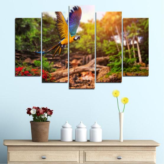 Декоративни панели и картини от канава - от 5 части №0158 » Зелен, Оранжев, Кафяв, Черен » Природа, Птици, Папагал Form #1