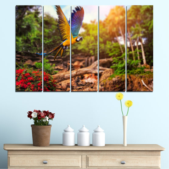 Canvas prints & wall decorative panels - 5 pieces №0158 » Green, Orange, Brown, Black » Nature, Birds, Parrot Form #2