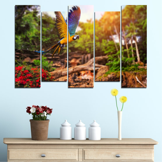 Canvas prints & wall decorative panels - 5 pieces №0158 » Green, Orange, Brown, Black » Nature, Birds, Parrot Form #3