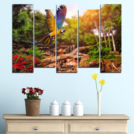 Декоративни панели и картини от канава - от 5 части №0158 » Зелен, Оранжев, Кафяв, Черен » Природа, Птици, Папагал Form #3