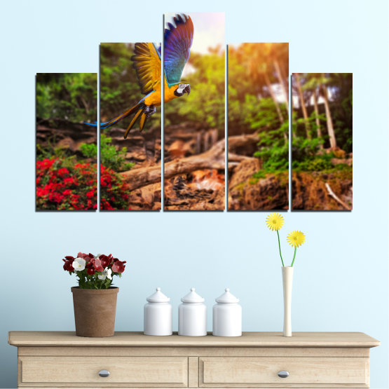 Canvas prints & wall decorative panels - 5 pieces №0158 » Green, Orange, Brown, Black » Nature, Birds, Parrot Form #5