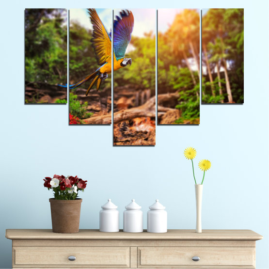 Canvas prints & wall decorative panels - 5 pieces №0158 » Green, Orange, Brown, Black » Nature, Birds, Parrot Form #6