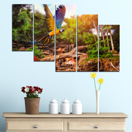 Canvas prints & wall decorative panels - 5 pieces №0158 » Green, Orange, Brown, Black » Nature, Birds, Parrot Form #7