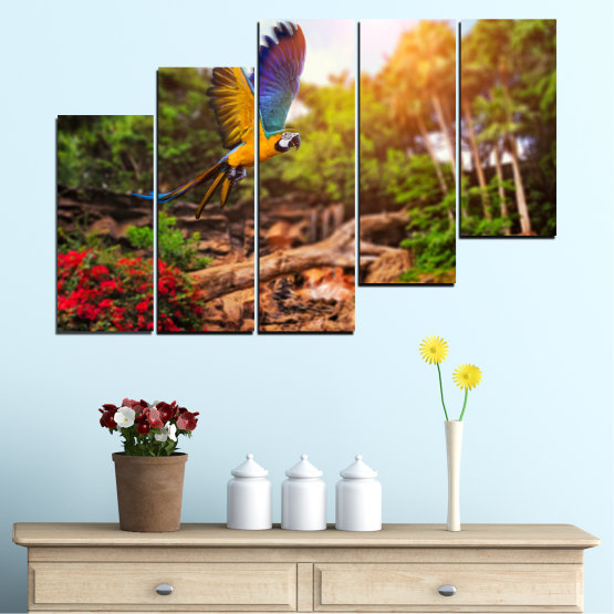 Canvas prints & wall decorative panels - 5 pieces №0158 » Green, Orange, Brown, Black » Nature, Birds, Parrot Form #8