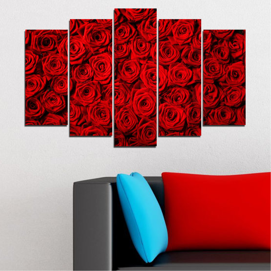 Canvas prints & wall decorative panels - 5 pieces №0160 » Red, Black » Flowers, Rose, Bouquet Form #1