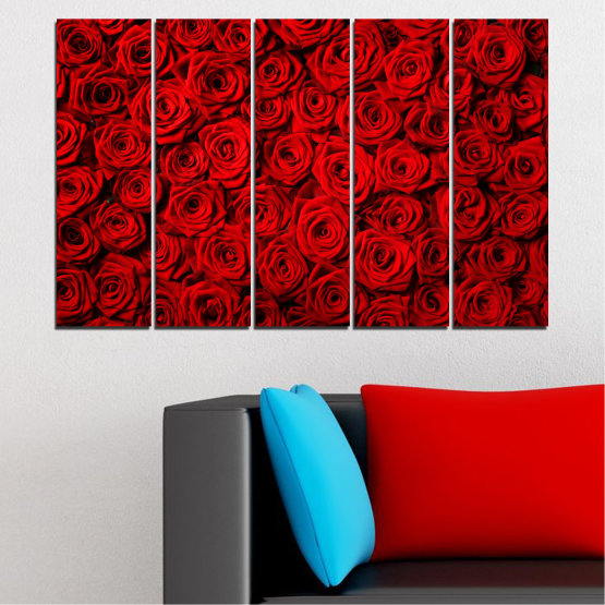 Canvas prints & wall decorative panels - 5 pieces №0160 » Red, Black » Flowers, Rose, Bouquet Form #2
