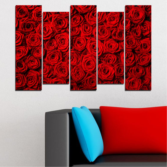 Canvas prints & wall decorative panels - 5 pieces №0160 » Red, Black » Flowers, Rose, Bouquet Form #3