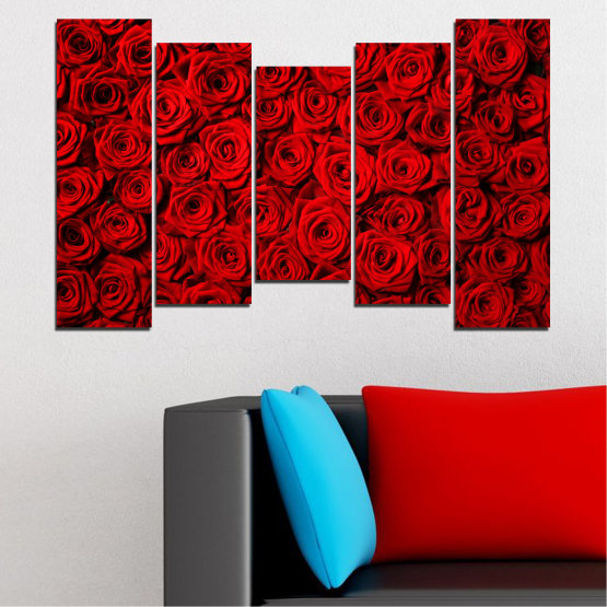 Canvas prints & wall decorative panels - 5 pieces №0160 » Red, Black » Flowers, Rose, Bouquet Form #4
