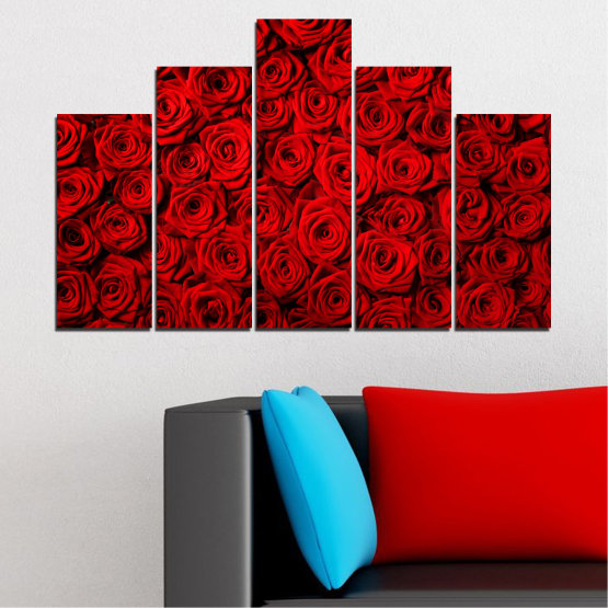 Canvas prints & wall decorative panels - 5 pieces №0160 » Red, Black » Flowers, Rose, Bouquet Form #5
