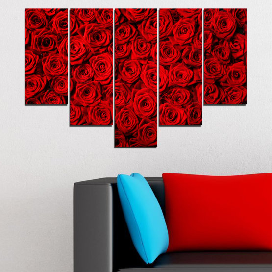 Canvas prints & wall decorative panels - 5 pieces №0160 » Red, Black » Flowers, Rose, Bouquet Form #6