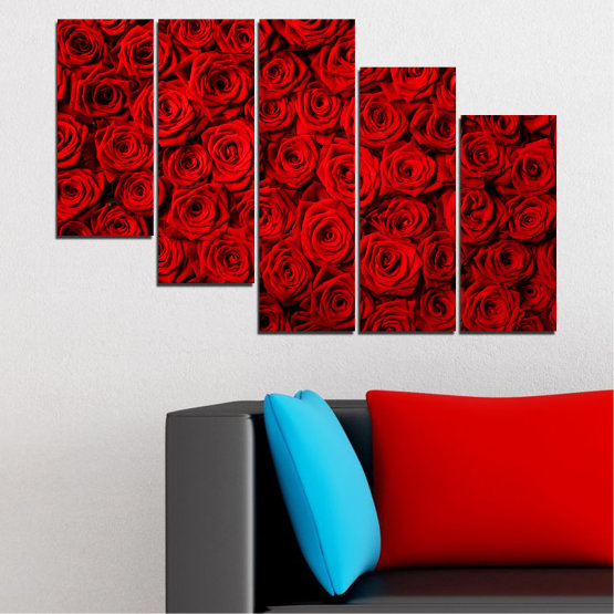 Canvas prints & wall decorative panels - 5 pieces №0160 » Red, Black » Flowers, Rose, Bouquet Form #7