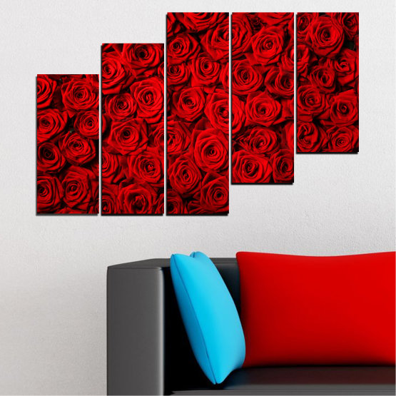 Canvas prints & wall decorative panels - 5 pieces №0160 » Red, Black » Flowers, Rose, Bouquet Form #8