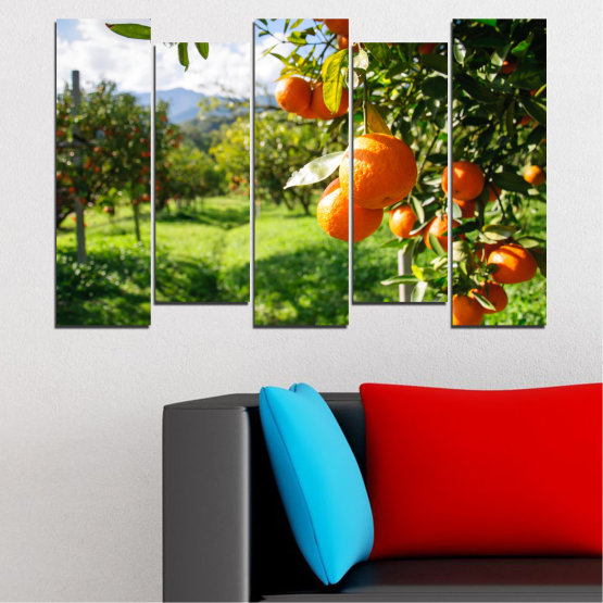 Canvas prints & wall decorative panels - 5 pieces №0161 » Green, Orange, Black, White » Nature, Garden, Fruits Form #3