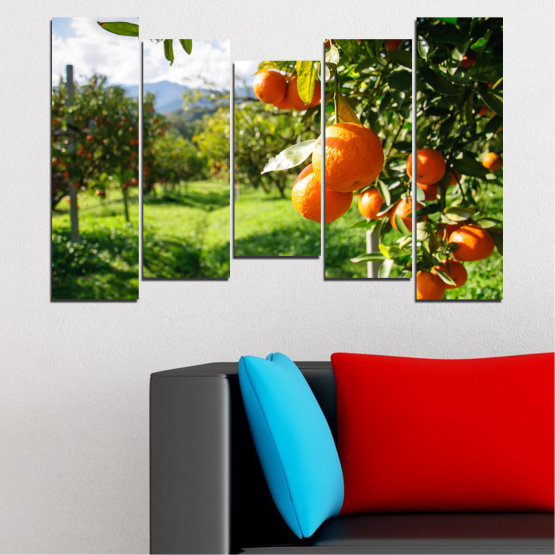 Canvas prints & wall decorative panels - 5 pieces №0161 » Green, Orange, Black, White » Nature, Garden, Fruits Form #4