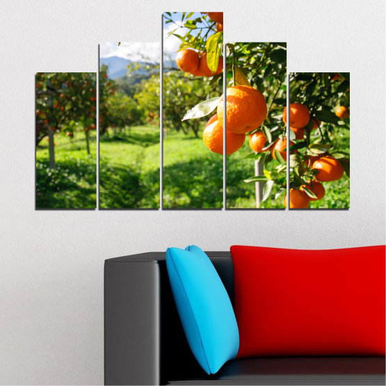 Canvas prints & wall decorative panels - 5 pieces №0161 » Green, Orange, Black, White » Nature, Garden, Fruits Form #5