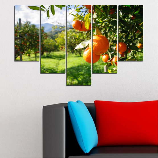 Canvas prints & wall decorative panels - 5 pieces №0161 » Green, Orange, Black, White » Nature, Garden, Fruits Form #6